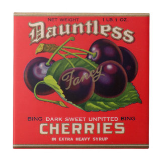 1930s Dauntless Cherries in Heavy Syrup can label Small Square Tile