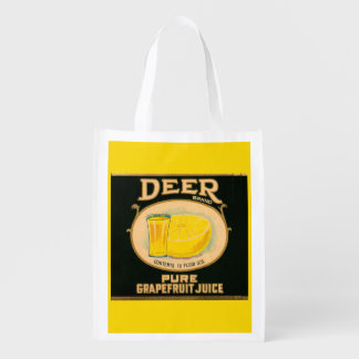 1930s Deer Brand Grapefruit Juice label Reusable Grocery Bag