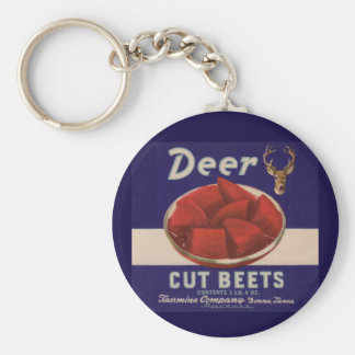 1930s Deer Cut Beets can label Basic Round Button Key Ring