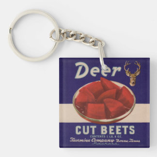 1930s Deer Cut Beets can label Double-Sided Square Acrylic Key Ring