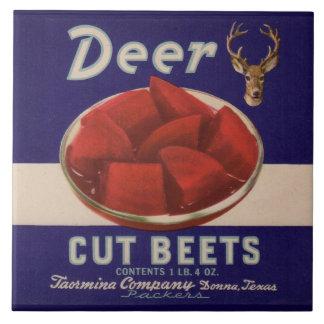 1930s Deer Cut Beets can label Large Square Tile