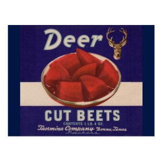 1930s Deer Cut Beets can label Postcard
