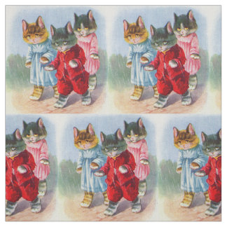 1930s dressed kittens in the rain print fabric