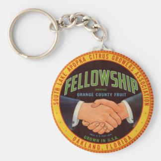 1930s Fellowship Orange Country Citrus label Basic Round Button Key Ring