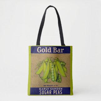 1930s Gold Bar sugar peas can label print Tote Bag