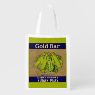 1930s Gold Bar sugar peas can label Reusable Grocery Bag