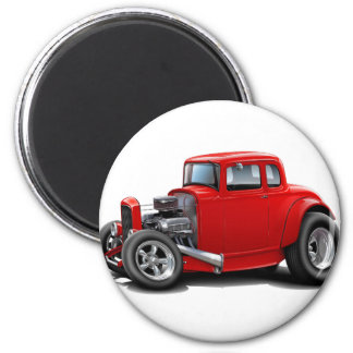 1930's Hot Rod Red Car 6 Cm Round Magnet