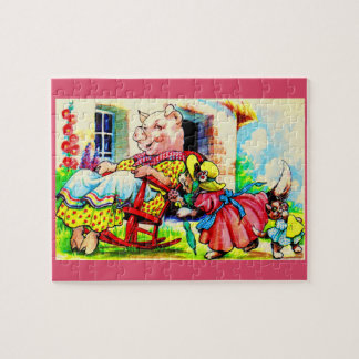 1930s mama kitty and baby kitty visit pig jigsaw puzzle