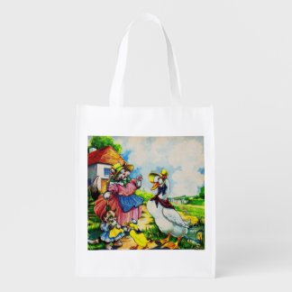 1930s mama kitty cat and baby kitty visit ducks reusable grocery bag