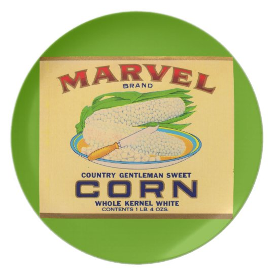 1930s Marvel canned corn label Plate