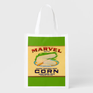 1930s Marvel canned corn label print Reusable Grocery Bag