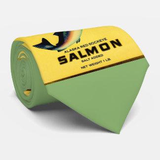1930s Marvel salmon can label print Tie