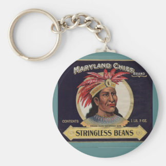 1930s Maryland Chief Stringless Beans label Basic Round Button Key Ring