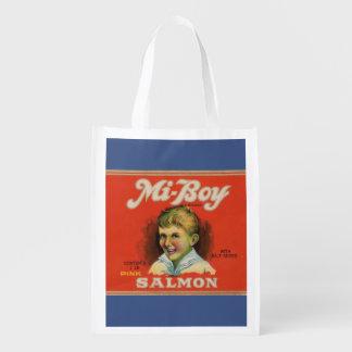 1930s Mi-Boy pink salmon can label Reusable Grocery Bag