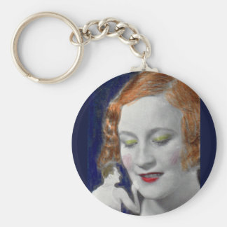 1930s redhead woman and her teeny tiny husband basic round button key ring