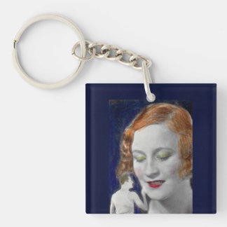 1930s redhead woman and her teeny tiny husband Double-Sided square acrylic key ring