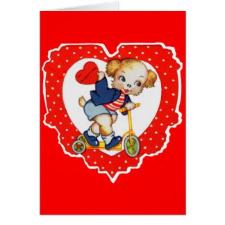 1930s Valentine puppy dog riding scooter Card