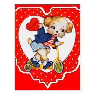 1930s Valentine puppy dog riding scooter Postcard