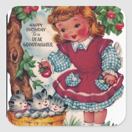 1930s Vintage Happy Birthday Granddaughter Square Sticker