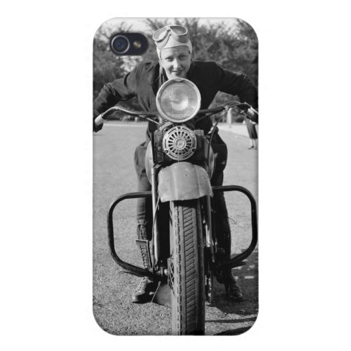 1930s Vintage Motorcycle Woman iPhone 4 Case