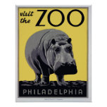 "1930s ""Visit The Zoo"" WPA Vintage Poster"