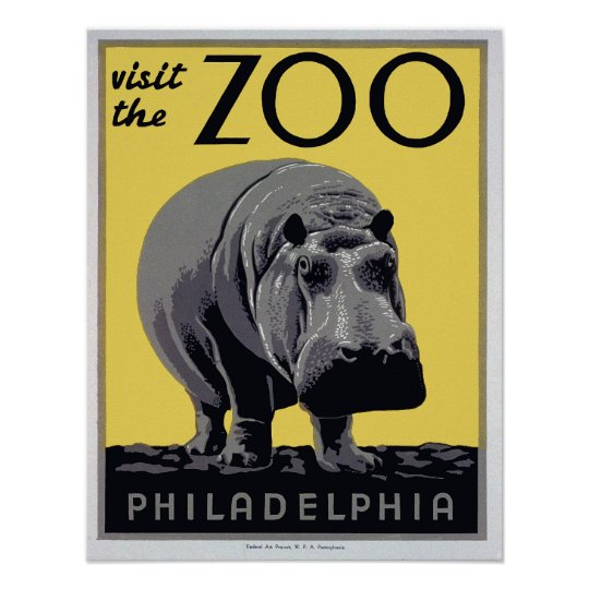 """1930s """"Visit The Zoo"""" WPA Vintage Poster"""