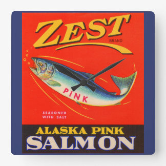 1930s Zest pink salmon can label Clocks