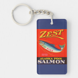 1930s Zest pink salmon can label Key Ring