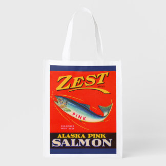 1930s Zest pink salmon can label Reusable Grocery Bag