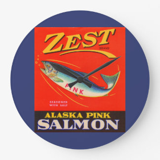 1930s Zest pink salmon can label Wallclock