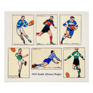 1933 South African Rugby - Archival Print