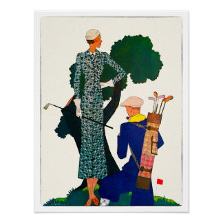 1933 Woman Golfer - Watercolor Print