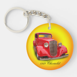 1934 CHEVROLET Single-Sided ROUND ACRYLIC KEY RING