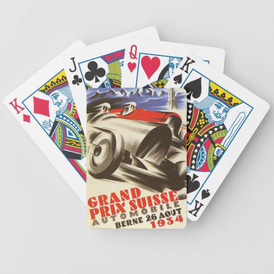 1934 Grand Prix Suisse Poster Playing Cards