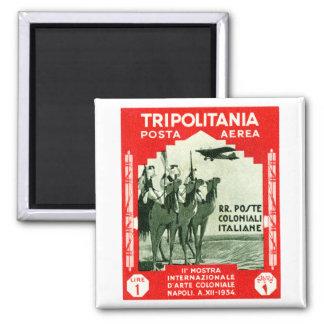 1934 Tripolitania 1 Lire stamp Square Magnet