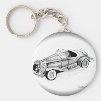 1935 Duesenberg SSJ Roadster Basic Round Button Key Ring