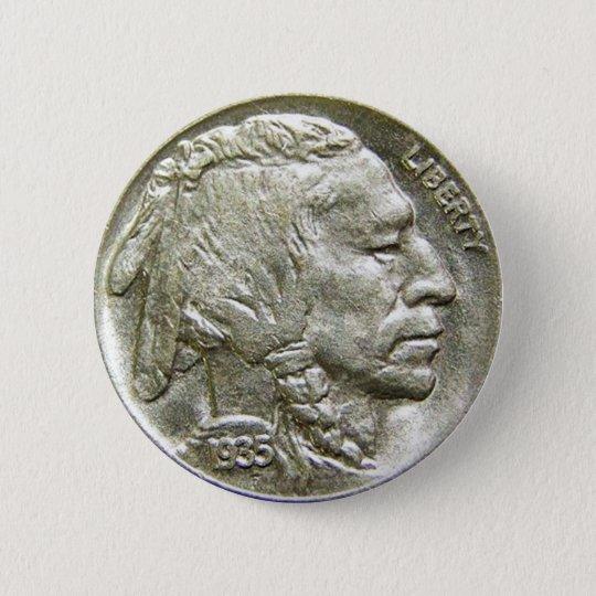 1935 Indian Head Silver Nickel Button