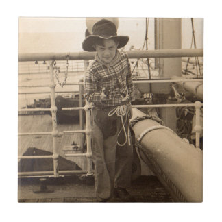 1935 juvenile cowboy on shipboard tile