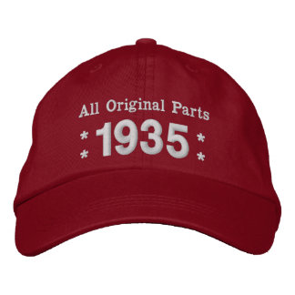 1935 or Any Year 80th Birthday A02B RED and WHITE Embroidered Baseball Cap