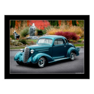 1936 Chevy Coupe Hot Rod Poster