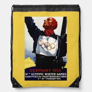 1936 Olympic Winter Games Advertisement Poster Drawstring Bag
