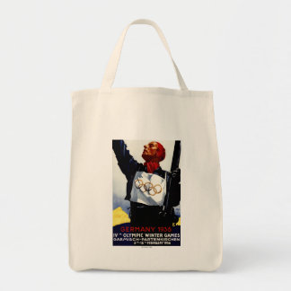 1936 Olympic Winter Games Advertisement Poster Grocery Tote Bag
