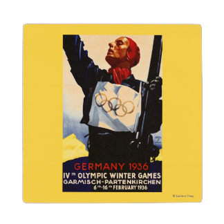 1936 Olympic Winter Games Advertisement Poster Maple Wood Coaster