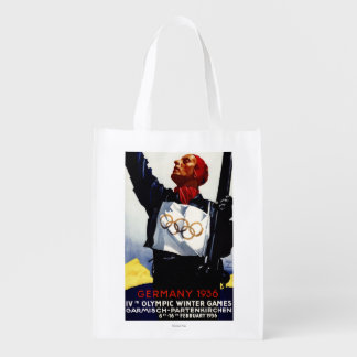 1936 Olympic Winter Games Advertisement Poster Reusable Grocery Bag