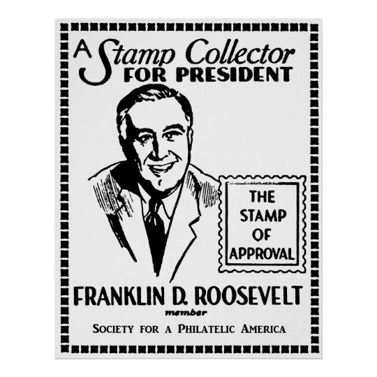1936 Stamp Collector FDR for President Poster