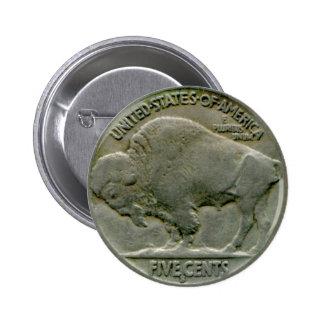 "1936 US ""Buffalo"" nickel tails button"