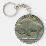 "1936 US ""Buffalo"" nickel tails keychain"