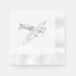 1936 WWII Spitfire Fighter Aircraft-color Disposable Serviette