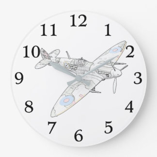 1936 WWII Spitfire Fighter Aircraft -color Large Clock