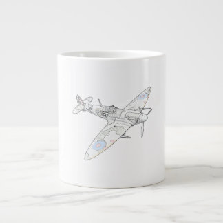 1936 WWII Spitfire Fighter Aircraft-color Large Coffee Mug